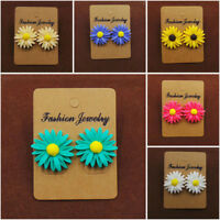 Women Girls Cute Daisy Flower Sunflower Earrings Resin Ear Stud Earring Jewelry