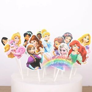 Disney Princess themed Cake Picks/Cupcake Toppers Kids Birthday Party 12 pcs set