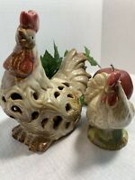 2  Ceramic Country Roosters For Home Decor