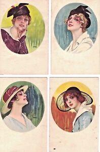 Lotto 4 cartoline Donnina Moda Cappello Glamour Girl Fashion PC Circa 1915