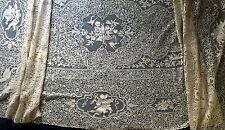 Vintage handmade Cantu bobbin lace banquet tablecloth - bedspread Cupids dragons