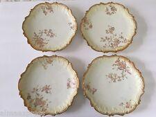 4 Antique Higgins & Seiter Elite NY France Limoges Floral Gold Scalloped Plates