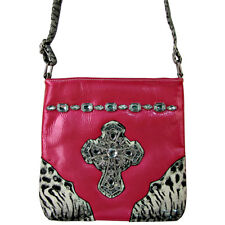 HOT PINK PATENT LEOPARD RHINESTONE CROSS LOOK MESSENGER BAG SATCHEL BLING NEW