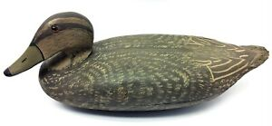 Carved Painted Gray & Black Wood Wooden Decorative Duck Decoy Plastic Eyes