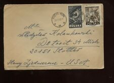 Poland Cover 1949 Gostyn to Detroit, Michigan with Pair of Cinderellas on back