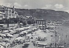 SAVONA PIETRA LIGURE 53 SPIAGGIA BAGNI Cartolina viaggiata 1955