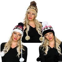 Damen Mütze Wintermütze Strickmütze Bommel Pompon Beanie Winter Kopfbedeckung