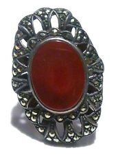 MASSIVE STERLING SILVER MARCASITE & CARNELIAN COLOR STONE RING BAND SIZE 8.5