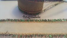 1m x 50mm GOLD TINSEL EDGED WIRED CHRISTMAS RIBBON - CAKES/GIFT WRAPPING/CRAFTS