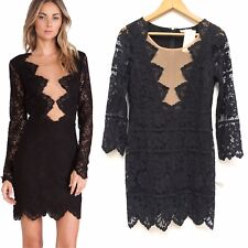 For Love and Lemons Womens Noir Black Lace Nude Illusion Mini Dress Medium NEW