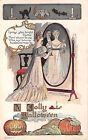 1907 sgd. Fred Lounsbury Lovers JOLs Black Cat Bat Owl Jolly Halloween post card