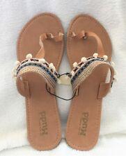 5998172c8454 New ListingWomen s MUDD Sandals Flip Flops Tan Navy Pink White Strap POM  Size Large 9-10