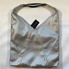 NWT Steve Madden Silver Perforated Slouchy Hobo Bag Adjustable Strap Retail $98
