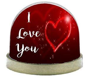 I Love You Snow Globe  - Gold Base Snow Globe Glitter Dome Shaker Ornament Gift