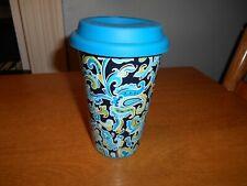 Longaberger Vitrified Ceramic Travel Mug Tumbler Paisley Pattern