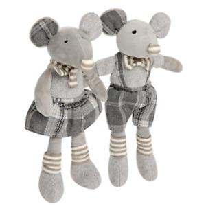 "Hugmo 13"" Matching Pair/set Boy Girl Gray Mouse Mice NWT SOFT! nursery kid decor"