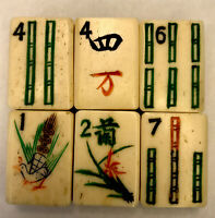 Vintage Bone and Bamboo MahJongg Mah-Jongg Replacement Tiles Pieces Set 6