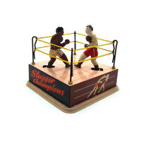 HK- Clockwork Wind up Boxing Ring Boxers Model Table Ornament Kids Toy Gift Stri