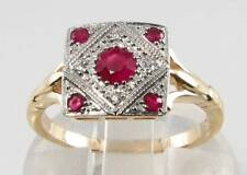 CLASS  9CT GOLD INDIAN RUBY DIAMOND ART DECO INS RING FREE RESIZE