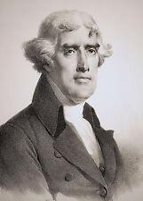 THOMAS JEFFERSON amerikanischer Präsident Portrait Lithographie 1826 - Original!