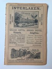 Interlaken, Grand Hotel Victoria, Grand Hotel Jungfrau, 1898, Antique Advert