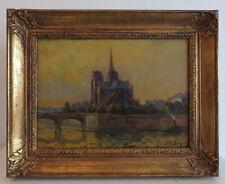 IMPRESSIONNISME. Jean FABRY (XXè). Vue de PARIS. Notre-Dame et la SEINE. CADRE.