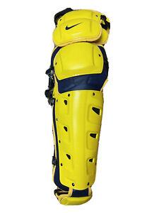 """MSRP $350 Nike Unisex Softball Baseball Catchers Leg Guards Size 17"""" Yellow Navy"""