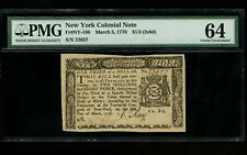 Us Colonial Currency New York Note Fr# Ny-188 March 5, 1776 $1/3 2s8d Pmg 64 Unc