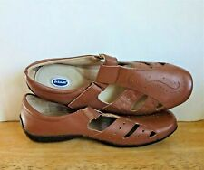 Dr Scholls Women Light Brown Leather T- Strap Mary Jane Loafer Shoes Size 9W