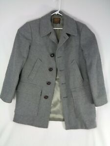 Vintage Pendleton Mens Wool Gray Heavy Western Car Coat Jacket Sz Small S