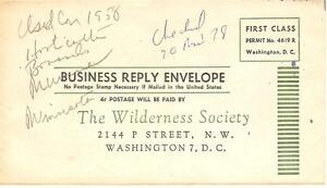 1958 Unmailed Business Reply Envelope The Wilderness Society