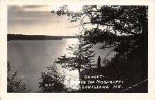 RPPC LOUISANA MO 1949 Sunset on the Mississippi River VINTAGE REAL PHOTO rl463
