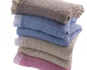 Cellular Wool Blanket Traditional Luxury Lightweight Satin Ribbon Trim 4 Colours