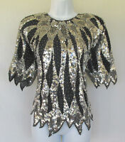VINTAGE 1970s 80s IRIS SEQUIN BEADED TOP BLACK SILVER POLY