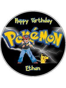"Pokemon 7.5"" Round Personalised Birthday Cake Topper #2"