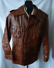 VTG mens 70s COLLARED LEATHER GLAM ROCKER DISCO JACKET 40 JENO de PARIS CANADA