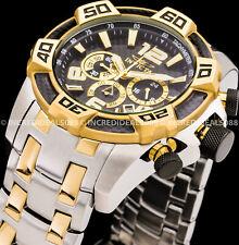Invicta Men Pro Diver Chrono Gold Black Bezel Two Tone Bracelet SS Watch 25856
