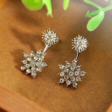 Women Double Sided Ear Jacket Piercing Water Drop Crystal Earrings Cute Jewelry