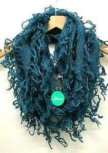 Boho hippy goth emo PETROL BLUE crochet LETTUCE OF LONDON scarf wrap pashmina