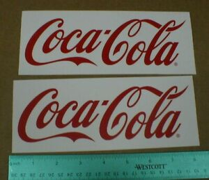 """red Coca Cola Coke soft drink auto racing Sticker Decal set of 2 NEW 8 1/4"""" rare"""