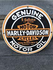 HARLEY DAVIDSON MOTORCYCLE  PORCELAIN METAL GAS 5 ROCKER OIL Can SIGN