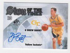 Drew Barry AUTOGRAPH Georgia Tech Yellow Jackets 2013-14 SPA AUTO Basketball