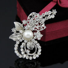 Pretty Fashion Wedding Rhinestone crystal brooches silver gold brooch pin Decor