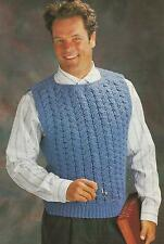 Crochet Pattern ~ MANS CABLE PULLOVER VEST Sweater ~ Instructions