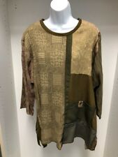 Donna Jessica Mixed Fabric Patchwork Long Sleeve Patterned Top/Shirt. Sz 1. NWT