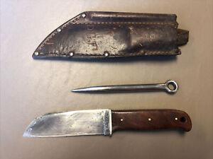 KA-BAR OLEAN CUTLERY NY BSA BOY SCOUT KNIFE SHEATH & NEEDLE LEATHER HTF 1940'S