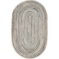 2'x3'  Feet Braided Rug Oval Denim Jute Floor Mat Handmade Reversible Area Rug