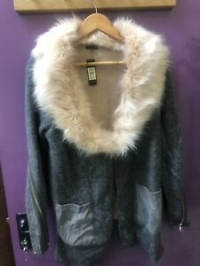 Ladies New River Island Fur Collar Cardigan Size 10