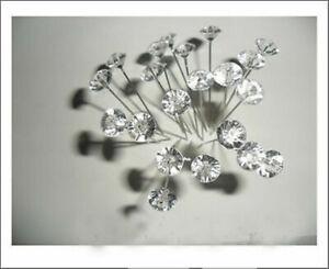 """100X 1.5""""Diamante Diamonte Pins Wedding Flower Bouquets Buttonholes Florist Work"""