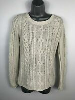 WOMENS H& M WHITE CABLE KNIT CREW NECK JUMPER SWEATER LONG SLEEVE SIZE EUR SMALL